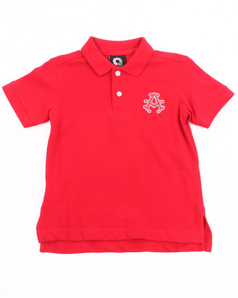 Akademiks Boys Red Solid Polo (4-7)