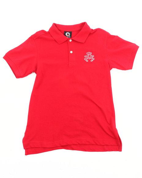 Akademiks Boys Red Solid Polo (8-20)