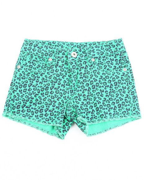 Z. Cavaricci Girls Green Animal Print Shorts  (7-16)