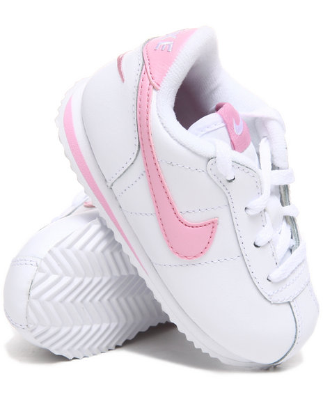 Nike Girls White,White Little Cortez Sneakers (Toddlers)