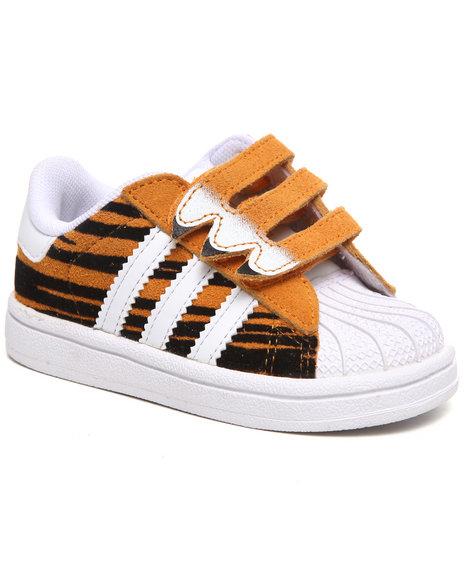 Adidas Boys Orange Superstar Tiger Sneakers (Toddlers)
