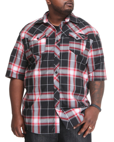 Enyce Men Red Plaidter Short Sleeve Woven (B&T)