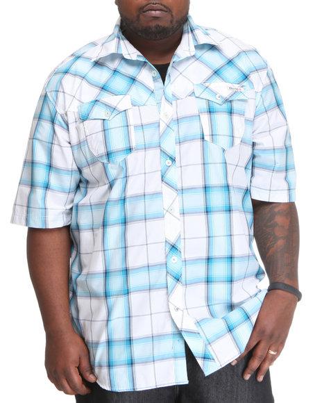 Enyce Men Blue Plaidter Short Sleeve Woven (B&T)