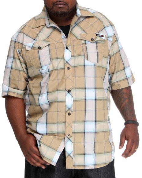 Enyce Men Khaki Plaidter Short Sleeve Woven (B&T)