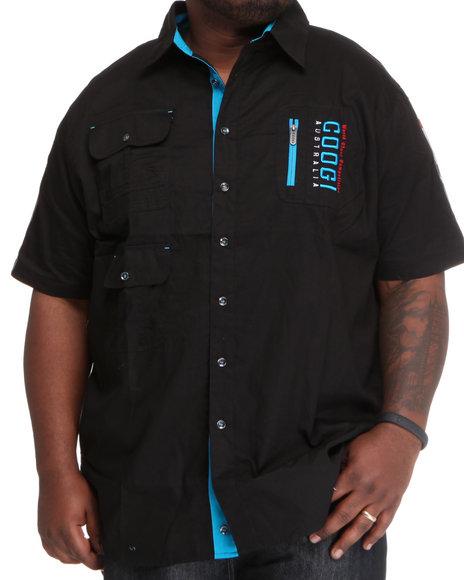 COOGI Men Black Thrones Pocket Detail Button Down Shirt (B&T)
