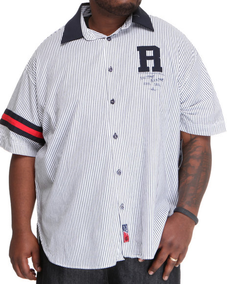Rocawear Men Blue Pinstripe Rugby S/S Button-Down (B&T)