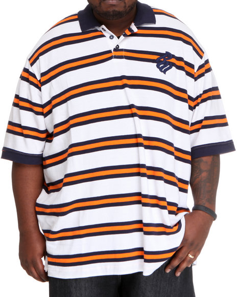 Rocawear Men Mini Flame Stripe S/S Polo (B & T) Blue 3Xlb