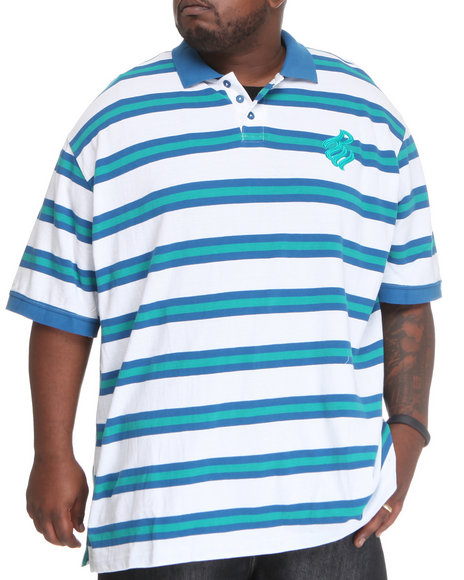 Rocawear Men Mini Flame Stripe S/S Polo (B & T) Blue 4Xlb