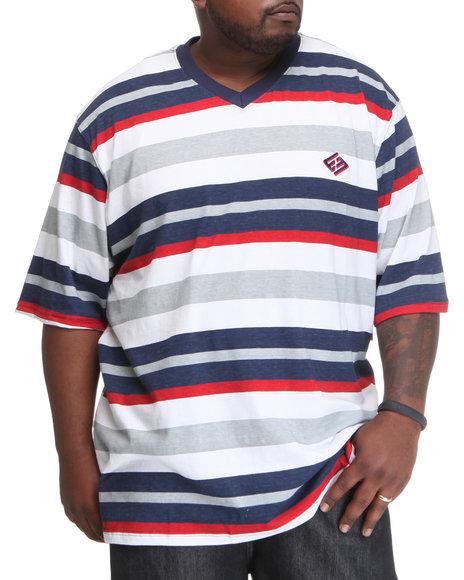 Enyce Men Blue Multi Stripe Short Sleeve V-Neck (B&T)