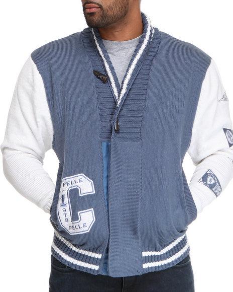 Pelle Pelle Men Blue,Light Grey Shawl Collar Boxing Club Sweater