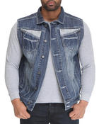 Vests - Indigo Stone Boot Stitch denim Vest