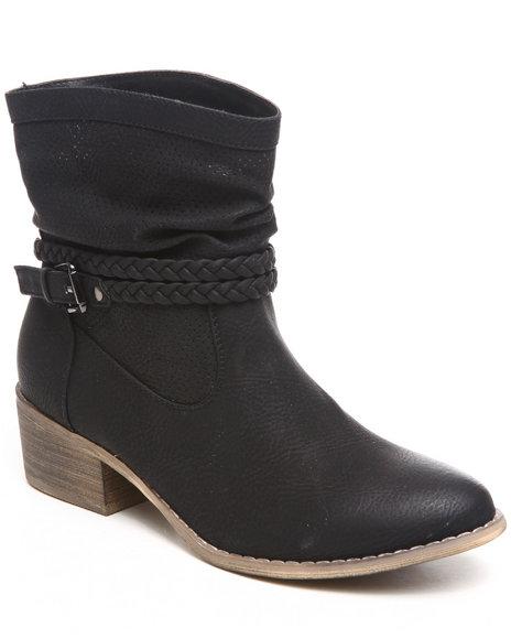 Fashion Lab - Women Black Pike Bootie W/Braid Detail