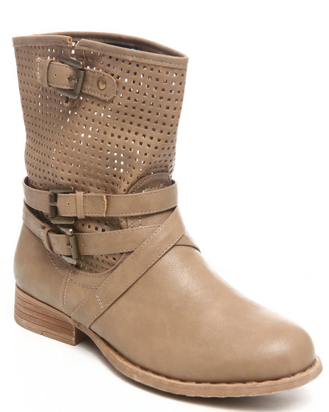 Fashion Lab - Women Tan Kanora Bootie W/Laser Cut