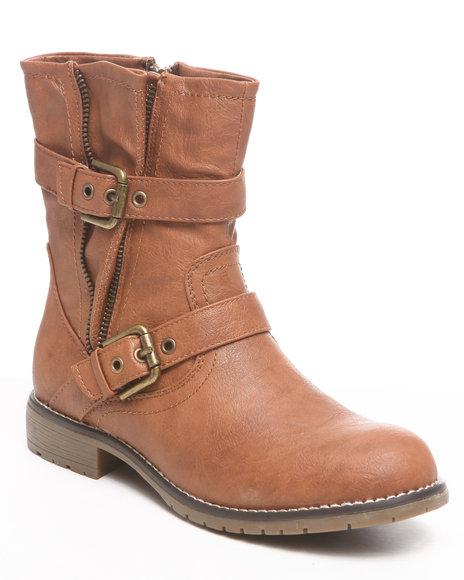 Fashion Lab - Women Tan Adine Ankle Bootie W/Zipper Buckle