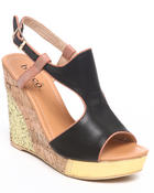 Fashion Lab - Athena Wedge Sandal w/glitter foil