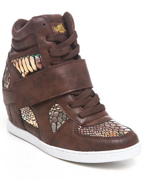 Apple Bottoms Women Brown Randi Rainbow Snake Wedge Sneaker