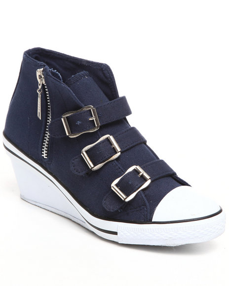 Fashion Lab - Women Navy Aliza Ankle Wedge Sneaker With Buckles