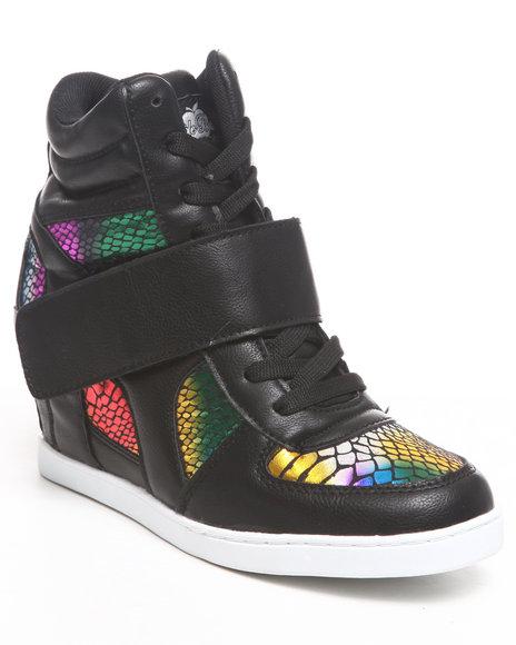 Apple Bottoms Women Black Randi Rainbow Snake Wedge Sneaker