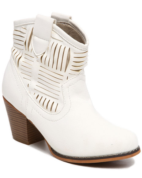 Fashion Lab - Women Beige Bluebelle Laser Cutout Bootie - $26.99