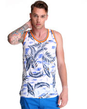 Shirts - Graphic Hawiian Tank w/ Contrast Piping Detail