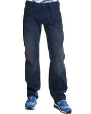 Diesel - Larkee Medium Blue w/ Oragnge Cuff Up Detail Straight Leg Denim
