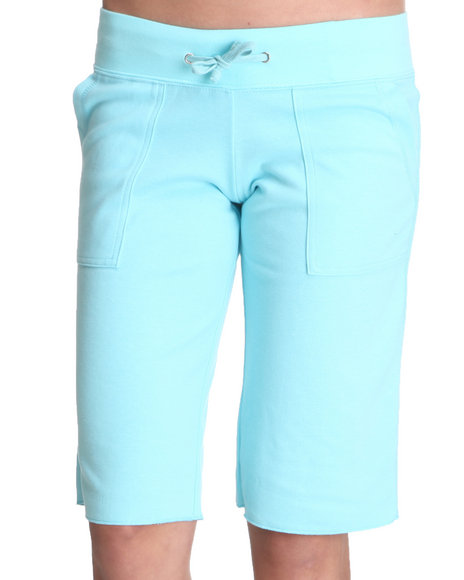 Basic Essentials Women Light Blue Drawstring Knit Shorts W/Pockets