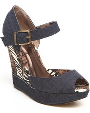 Fashion Lab - Carmen Wedge w/ankle strap xebra leopard denim detail