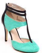 Fashion Lab - Neva Pump w/ankle strap mix fabrication faux suede and vegan leather