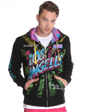 Jackets & Coats - City of Angels Multi Print/Embroidery/Patch Zip up Hoodie