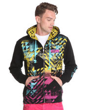 Hoodies - Pop Art Multi Print/Embroidery/ Patch Zip up Hoodie