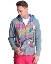 -FEATURES- - Big Apple Multi Print/Embroidery/Patch Zip up Hoodie