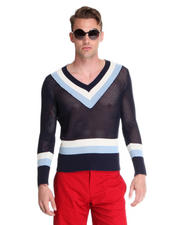 -FEATURES- - Open Lattice Bold Stripe V-Neck Sweater
