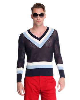 DJP OUTLET - Open Lattice Bold Stripe V-Neck Sweater