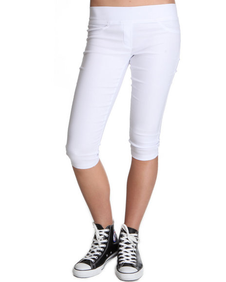 Fashion Lab Women White Heather Basic Capri Pant