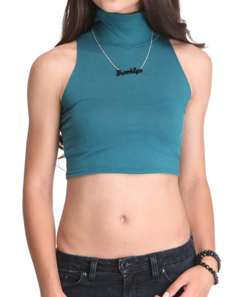 Fashion Lab - Women Teal Sleeveless Crop Top