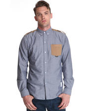 -FEATURES- - War Multi Fabric Button Down w/ Epaulet Detail