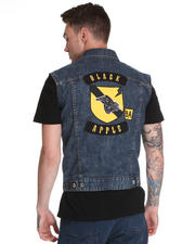 Vests - Sleeveless Denim Vest w/ Back Panel Patch Detail