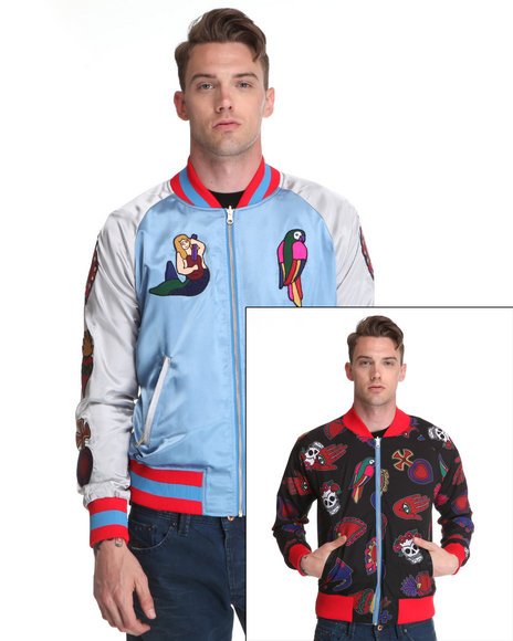 Ur-ID 136734 Joyrich Men Reversible Mexico Vacation Embroidered Stadium Jacket Blue Xx-Large by Joyrich