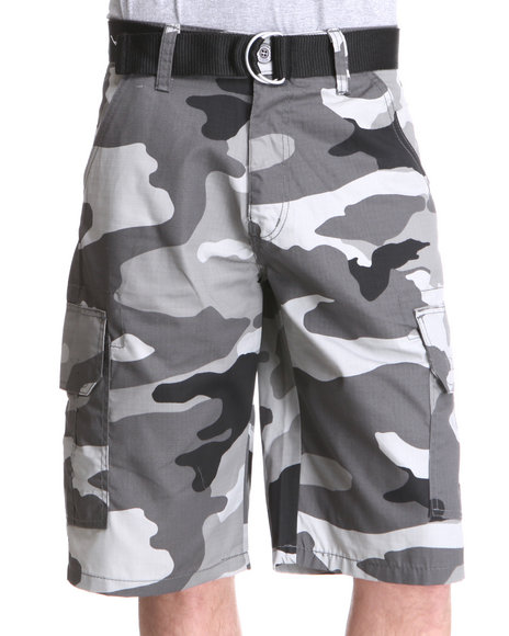 Enyce Men Grey Echelon Rip Stop Camo Short