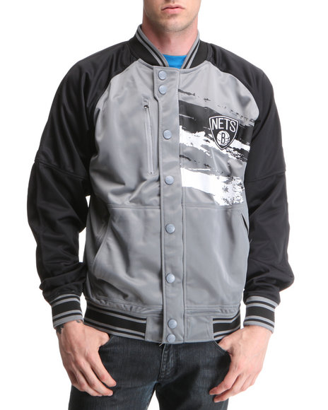 Nba, Mlb, Nfl Gear - Men Grey Brooklyn Nets Kareem Jacket