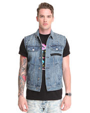 Vests - Edgy Spike Detail Sleeveless Denim Vest