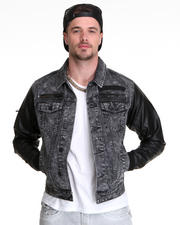 Jackets & Coats - Barnett Bleached Denim Jacket w/ Contrast Sleeve