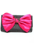 Hello Kitty Women Satin Heart Bow Clutch Bag Black