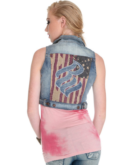 Rocawear Women Light Wash Americana Denim Vest