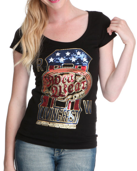 Rocawear Women Black Gold Dust S/S Tee