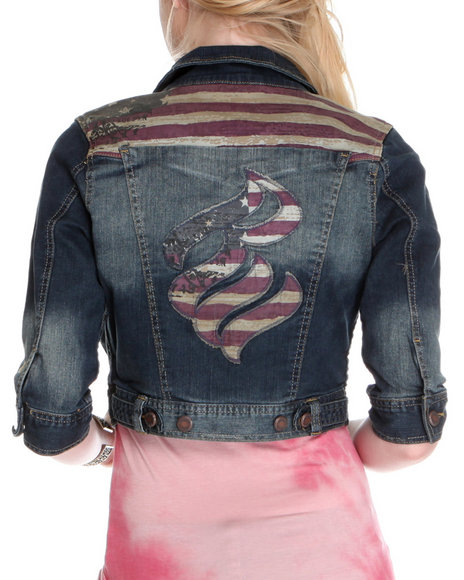 Rocawear Women Medium Wash Americana Cropped Denim Jacket
