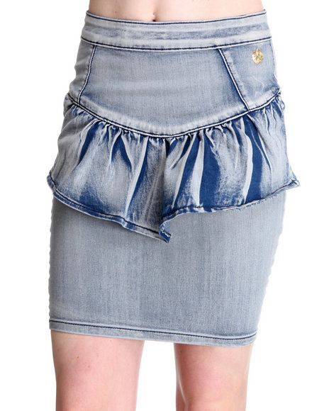 Apple Bottoms Women Light Wash Denim Wash Peplum Skirt