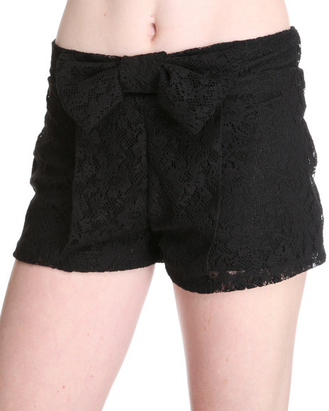 Fashion Lab Women Black Zoey Crochet Shorts W/Bow