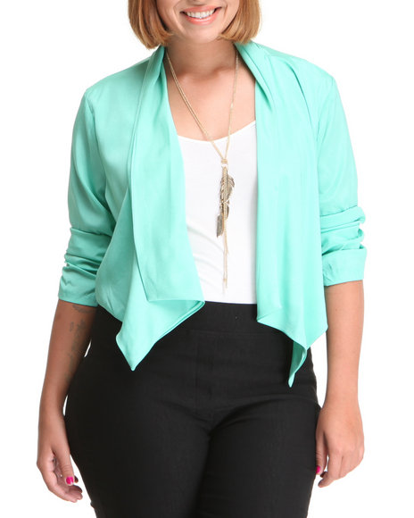 Fashion Lab Women Green The Lilly Blazer (Plus)