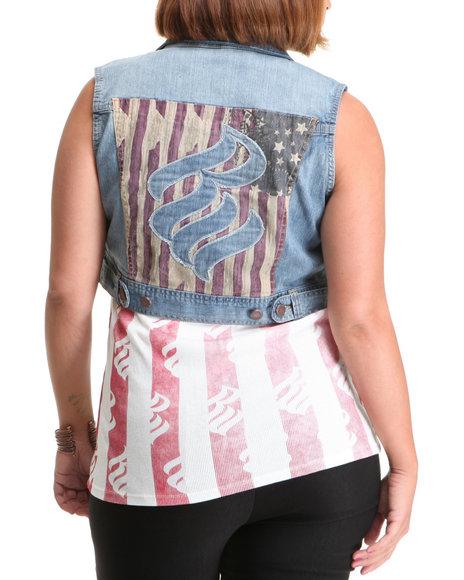 Rocawear Women Light Wash Americana Studded Denim Vest (Plus Size)